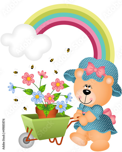 Wall Murals Bears Teddy bear in the garden