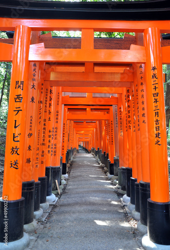 Famous bright orange torii gates of Fushimi Inari Taisha Shrine