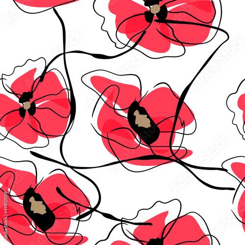 Tuinposter Abstract bloemen Drawing vector flower