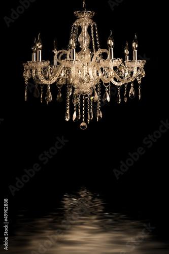 Fototapeta vintage glass lamp black background obraz na płótnie