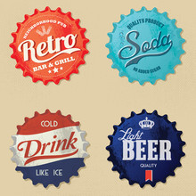 Retro Bottle Cap Design - Vint...