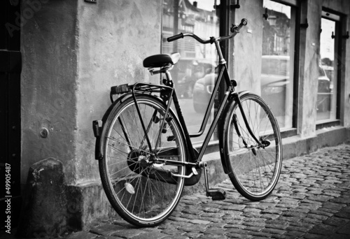 Türaufkleber Fahrrad Classic vintage retro city bicycle in Copenhagen, Denmark