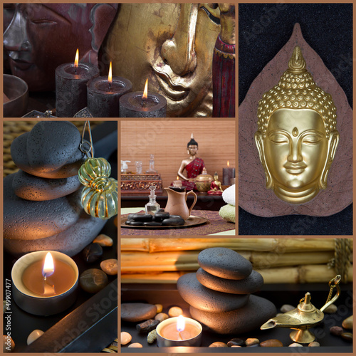 Asiatische Spa Dekoration mit Buddha in Braun und Schwarz