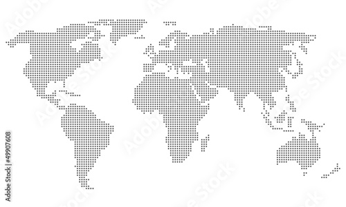 La pose en embrasure Carte du monde Dotted World Map