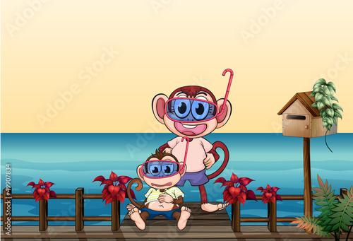 Fotobehang Beren A small and a big monkey at the bridge