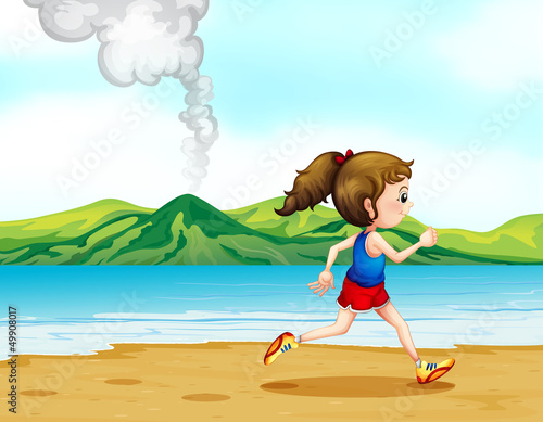 Poster Dogs A girl running along the seashore