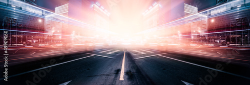 Poster Autoroute nuit light trails