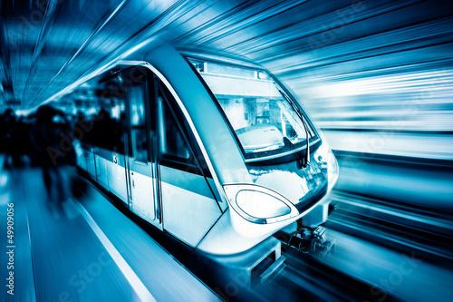 Photo  train through city