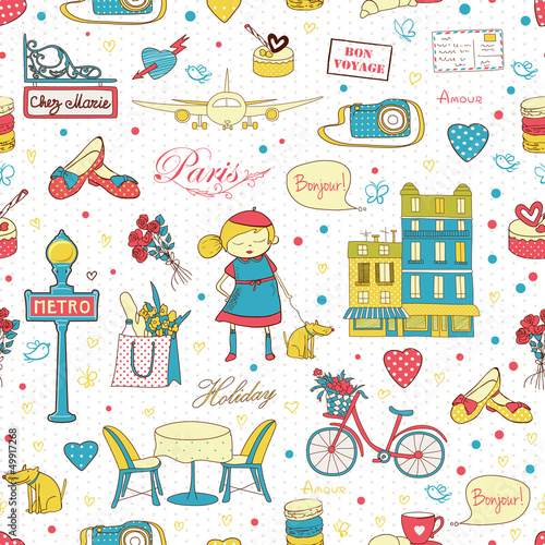 Foto auf Gartenposter Doodle Paris Travel background