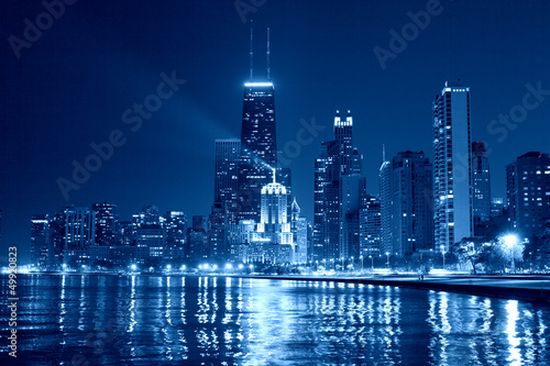 Poster Chicago Chicago Skyline at Night