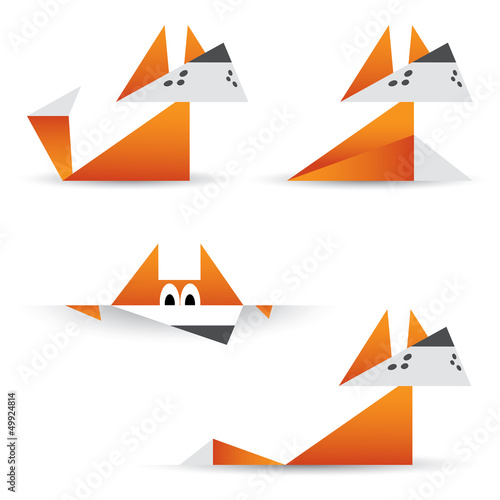 Poster Geometric animals Origami foxes