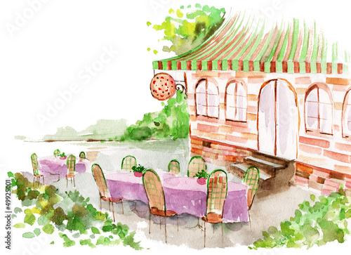 Foto auf AluDibond Gezeichnet Straßenkaffee pizzeria
