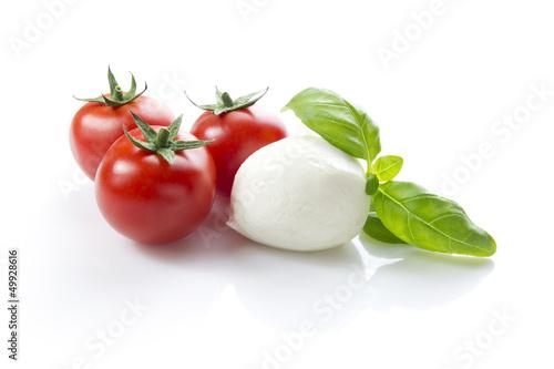 Fotografie, Obraz  mozzarella, tomatoes, basil, clipping path included