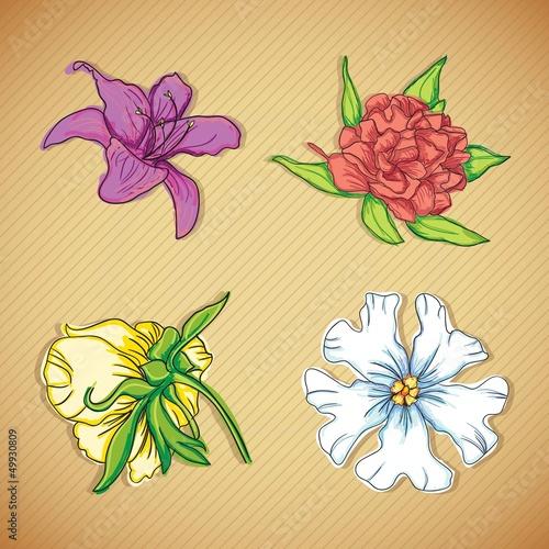 Tuinposter Vlinders Flowers Icons
