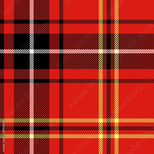Red tartan traditional british fabric seamless pattern, vector Wallpaper Mural