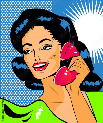 Spoed Fotobehang Comics Lady Chatting On The Phone - Retro Clip Art