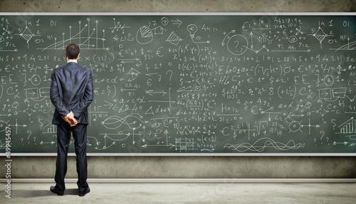 Fotografie, Obraz  Business person against the blackboard