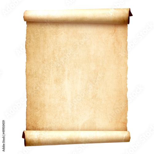 Obraz Old vintage scroll isolated on white background - fototapety do salonu