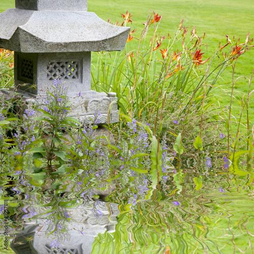 Plissee mit Motiv - Gartenteich - Japanischer Garten