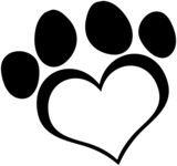 Black Love Paw Print