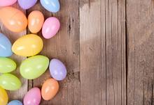 Plastic Easter Eggs On Wooden ...