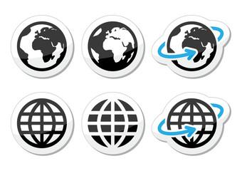 Fototapeta Globe earth vector icons set with reflection