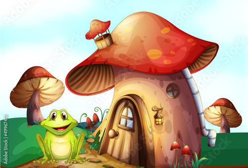 Poster Magic world A frog beside a mushroom house