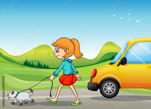 Poster Oiseaux, Abeilles A girl with a dog walking along the street