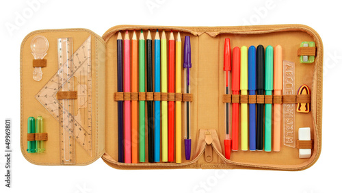 Pencil case with various stationery Fototapet
