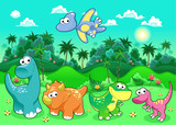 Fototapeta Dinusie - Funny dinosaurs in the forest.