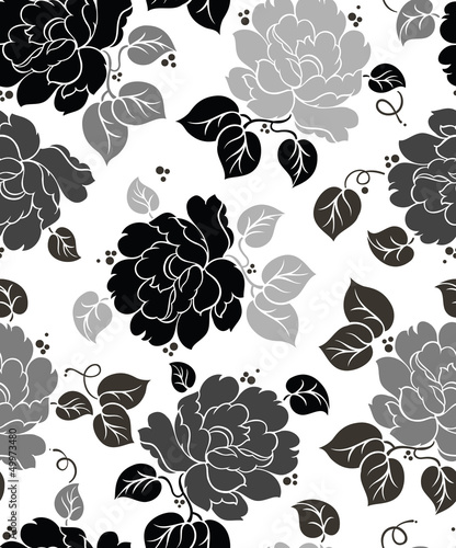 Poster Floral black and white Seamless Floral-Wallpaper