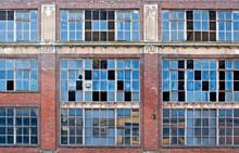 Broken Windows On Old Derelict Building