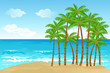 vector illustration of palm tree in sea beach