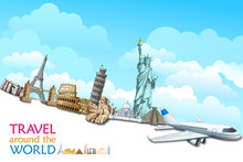 Vector Illustration Of Historical Monument With Airplane
