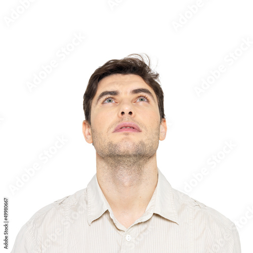 Portrait Of Young Man Looking Up Buy This Stock Photo And Explore Similar Images At Adobe Stock Adobe Stock Shut and open the eyes quickly. portrait of young man looking up buy