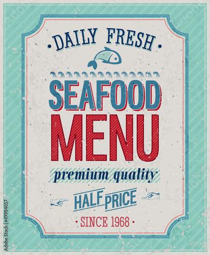 Papiers peints Affiche vintage Vintage SeaFood Poster. Vector illustration.