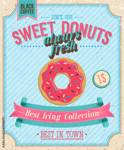 Montage in der Fensternische Weinlese-Plakat Vintage Donuts Poster. Vector illustration.
