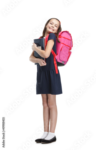 Joyful schoolgirl with the briefcase is happy to study Poster