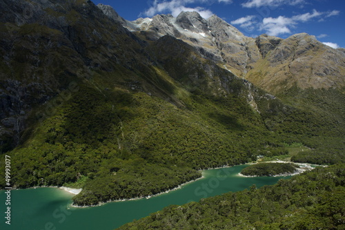 aerial view of lake Mackenzie, Fiordland Canvas Print