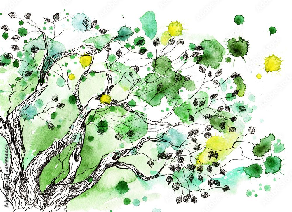 Fototapety, obrazy: Abstrakcyjne drzewo, akwarela