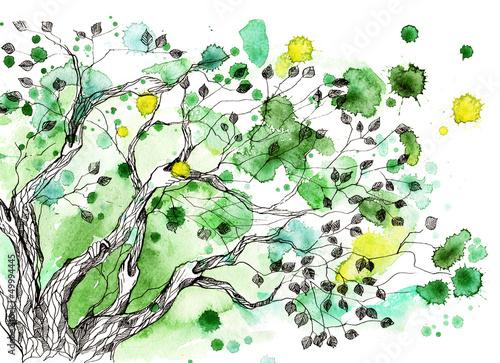Obraz Abstrakcyjne drzewo, akwarela - fototapety do salonu