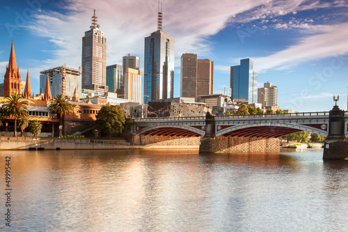Montage in der Fensternische Australien Melbourne skyline from Southbank