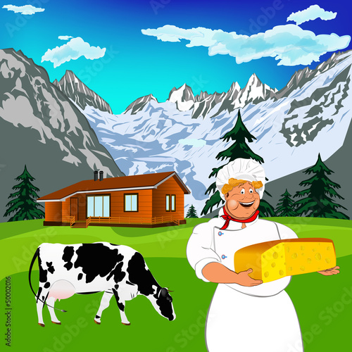 Spoed Foto op Canvas Boerderij Funny Chef and Natural dairy cheese with alps mountains meadow