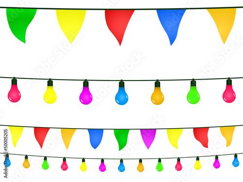 Valokuva  Guirlandes fanions et ampoules multicolores