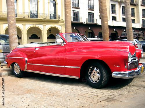 Old red car in Havana n.2