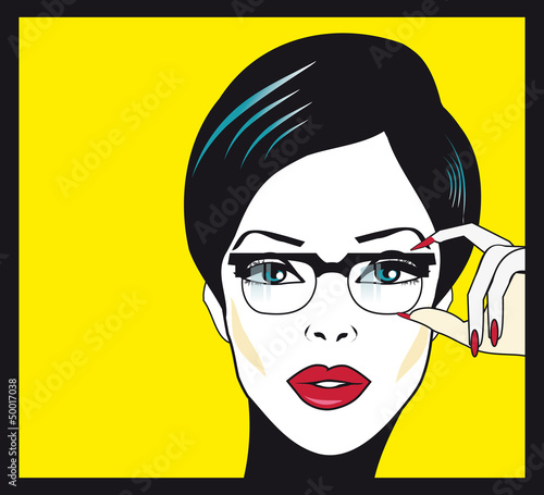 Eyewear glasses woman closeup portrait. Woman wearing glasses ho
