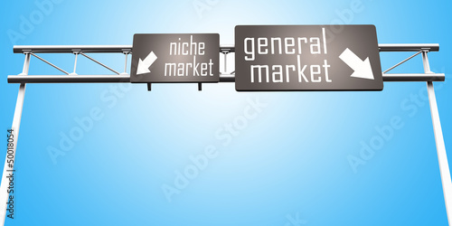 niche market and general market sign Canvas Print