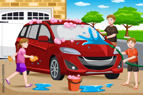 Foto op Canvas Cars Father and his kids washing car