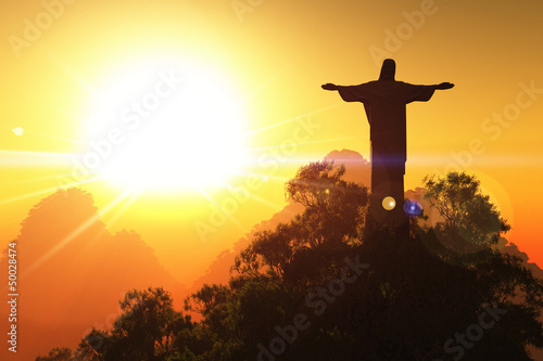 Photo  Corcovado Mountain in the Sunset 3D render