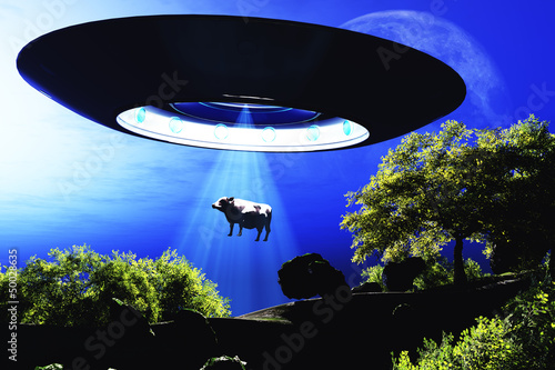 Ufo Flying on Earth at Night over Field Poster